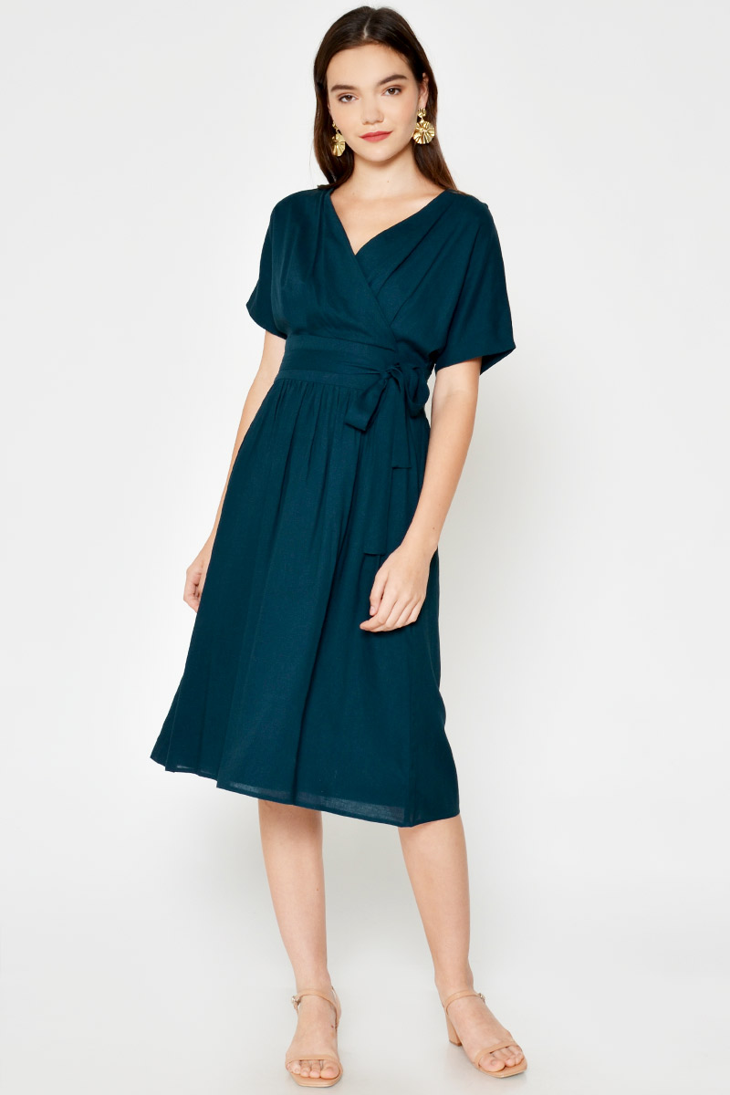 YANI WRAP MIDI DRESS W SASH