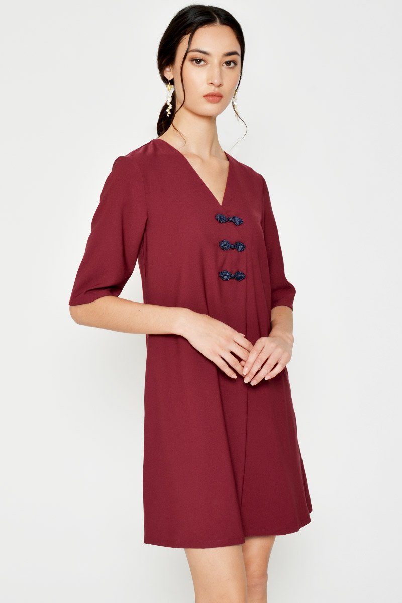 ARIEL CHINESE BUTTON FLARE DRESS