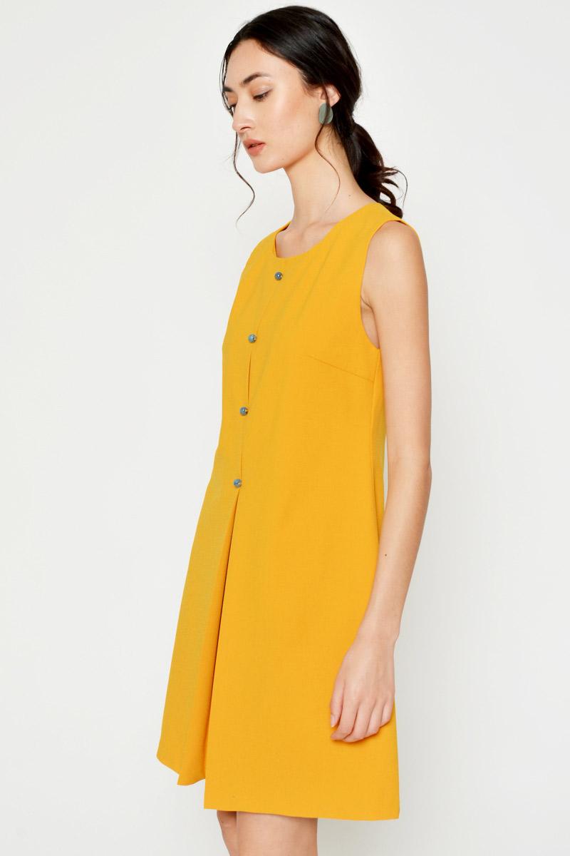 CAELIA BUTTON PLEATED DRESS