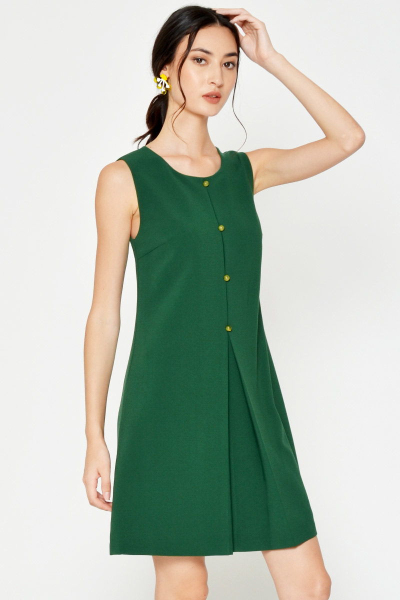 CAELIA BUTTON PLEATED DRESS