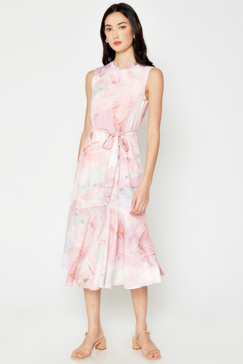 ELAINA WATERCOLOUR CHEONGSAM MIDI DRESS W SASH
