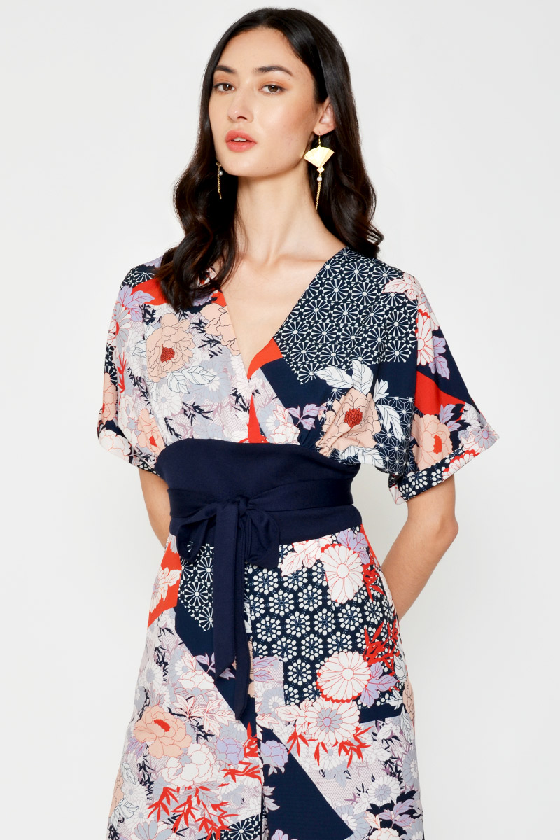 *BACKORDER 2* HANA FLORAL ABSTRACT KIMONO JUMPSUIT