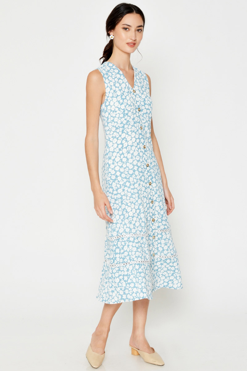 YVESSA FLORAL BUTTONDOWN MIDI DRESS