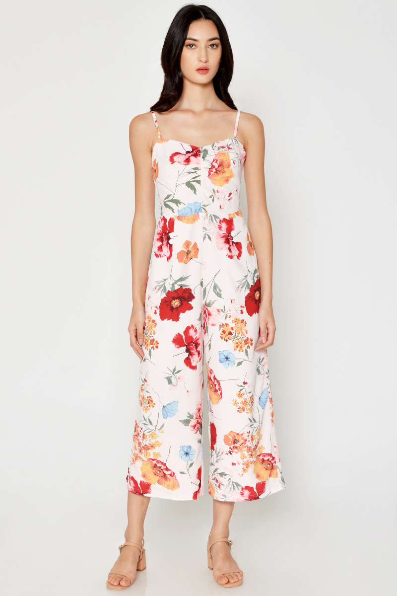 MARBELLA FLORAL RUCHED JUMPSUIT