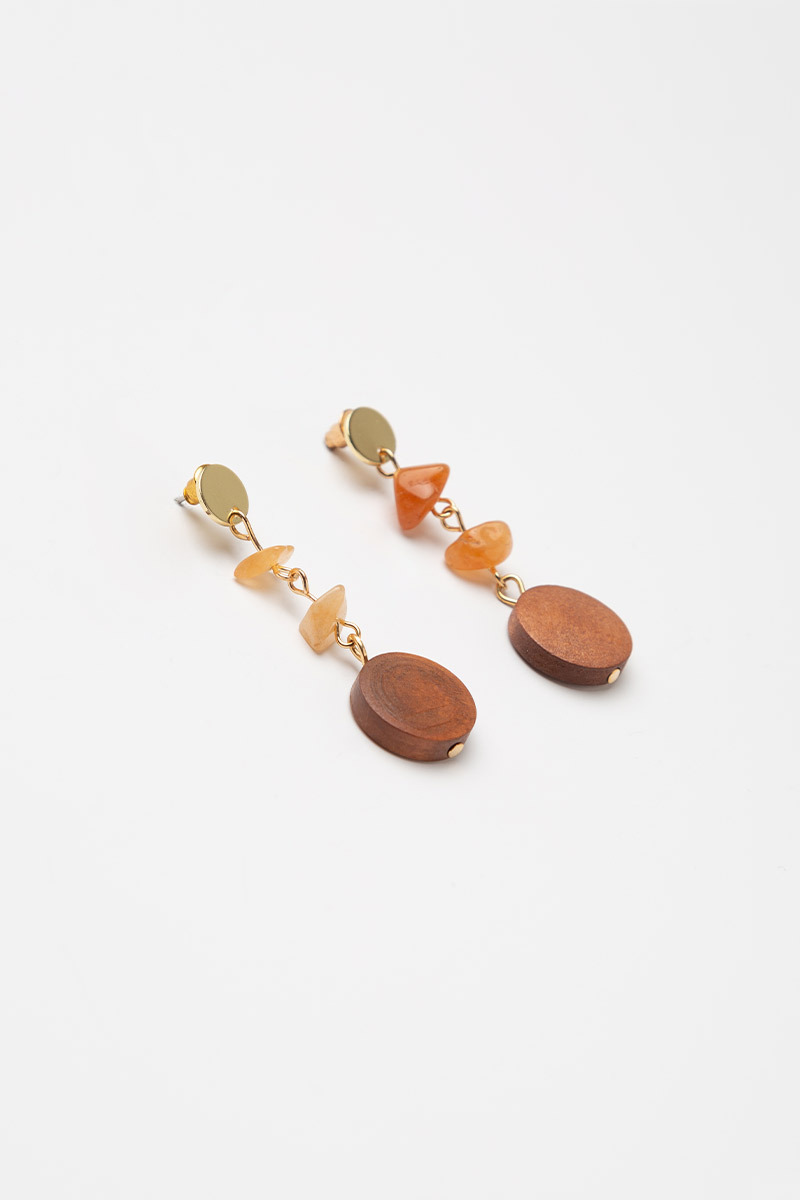 BEADS AND WOOD DANGLE DROP EARRINGS