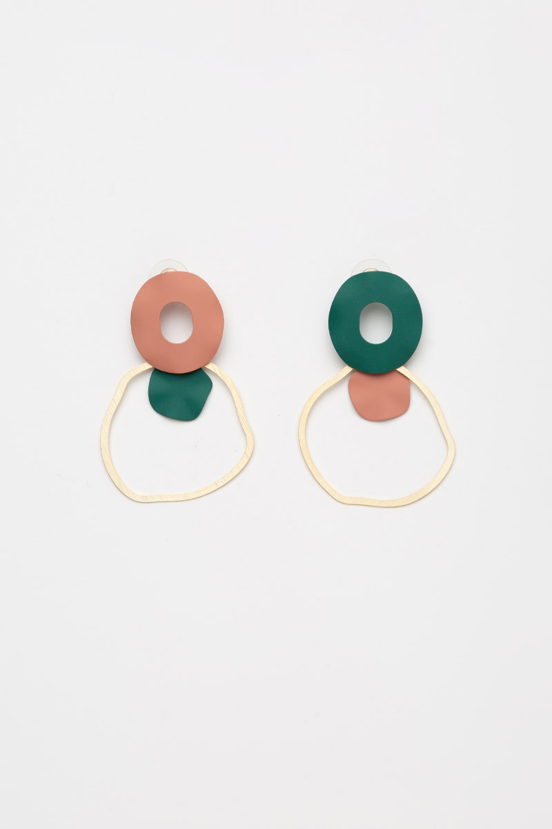 COLOURBLOCK DONUT RING DROP EARRINGS