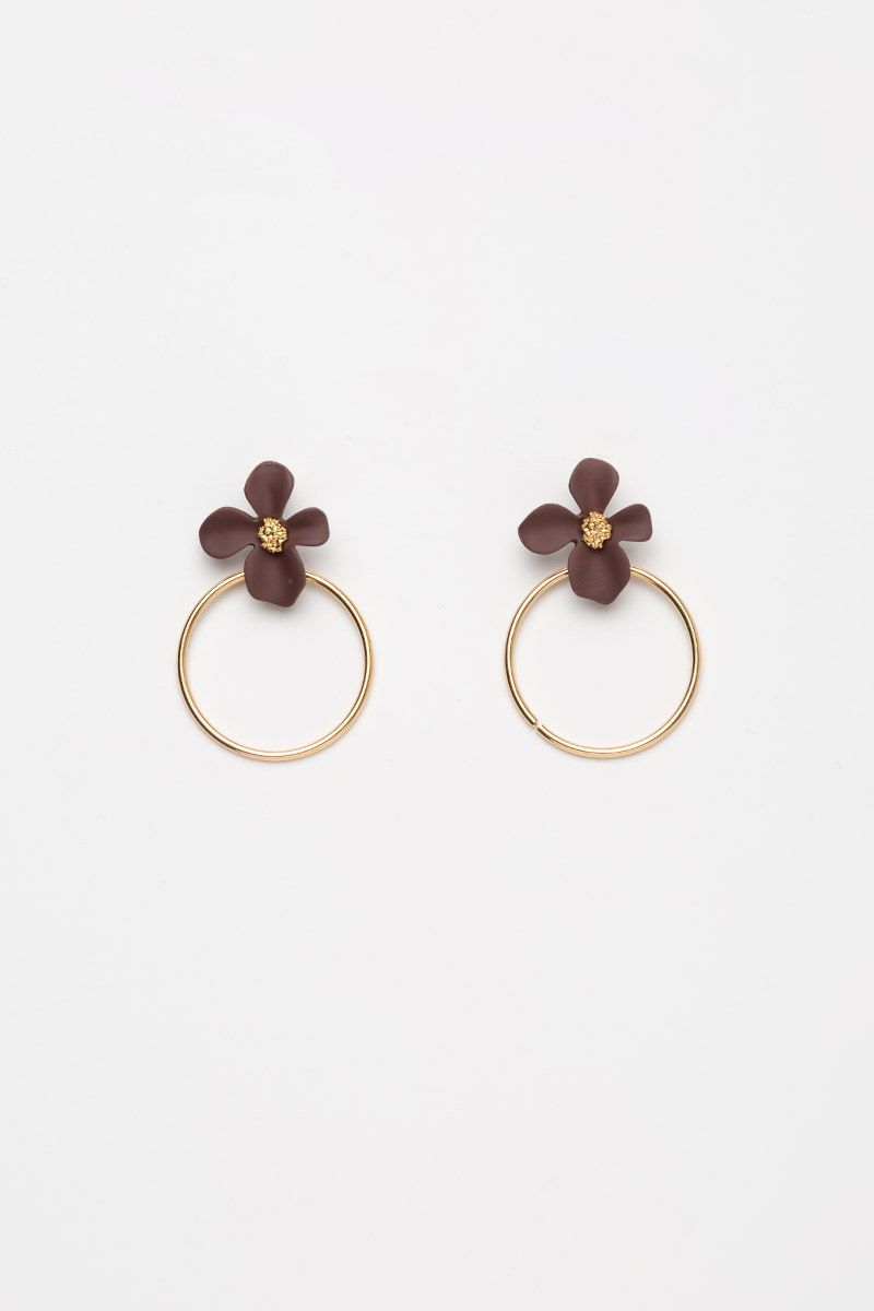 FLORAL RING DROP EARRINGS