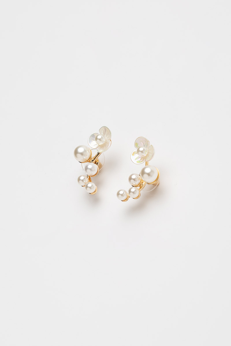 FLOWER AND PEARLS BRANCH EARRINGS