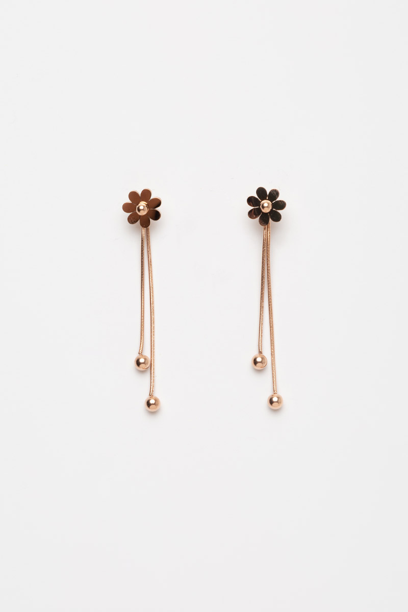 FLOWERS DANGLE BEADS BACK STUD EARRINGS