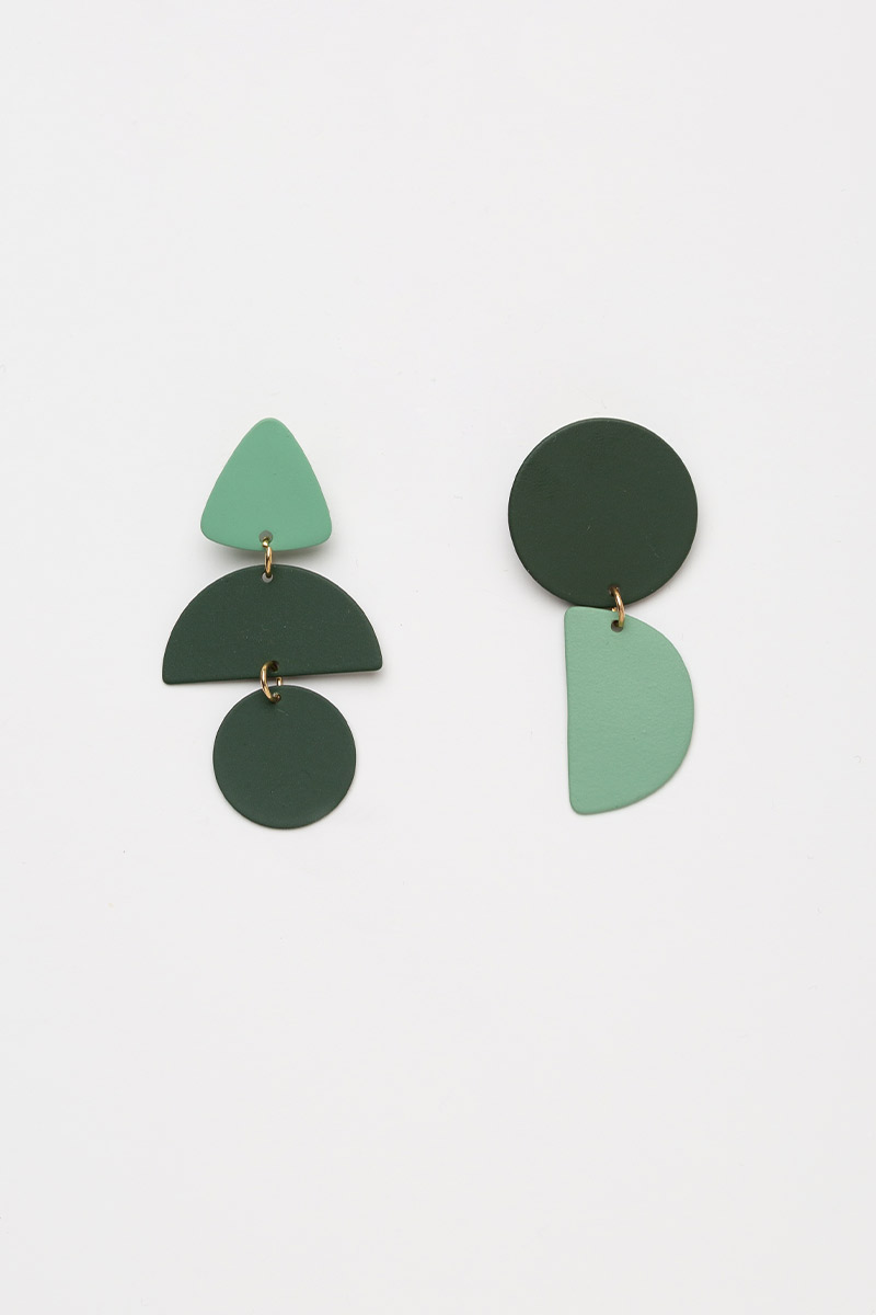 GEOMETRIC COLOURBLOCK DROP EARRINGS