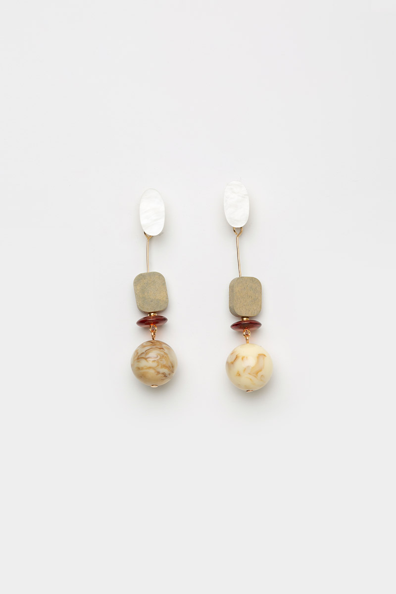 GEOMETRIC MARBLE & WOOD DANGLE EARRINGS