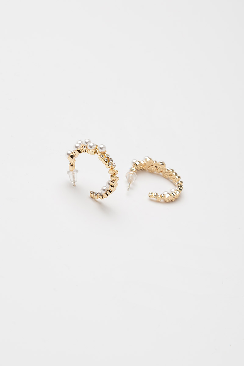 PEARL BLING HOOP EARRINGS