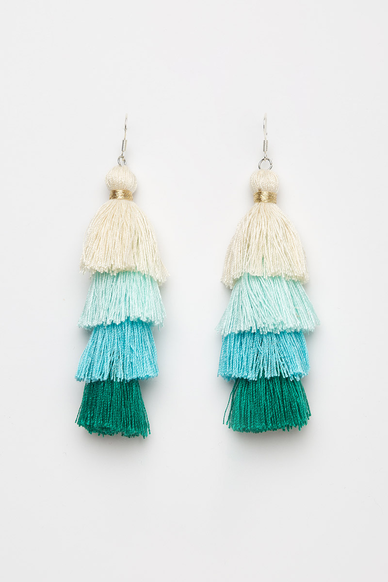 TIERED COLOURBLOCK TASSEL EARRINGS