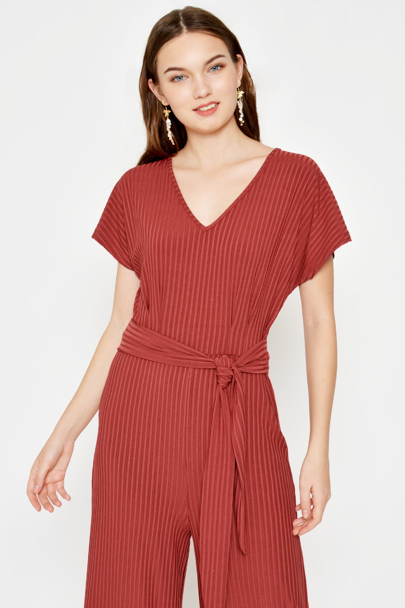 DARIA RIBBED FLARE JUMPSUIT