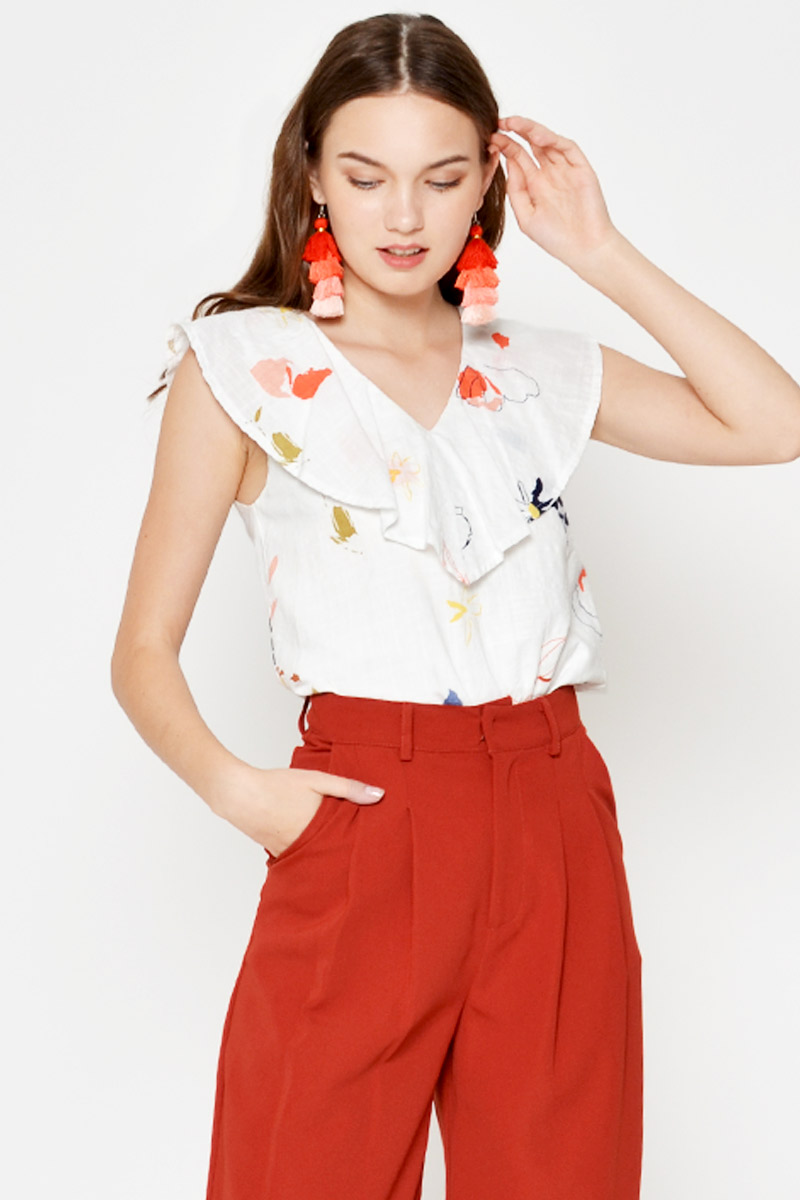 ROWEN RUFFLE FLORAL TOP