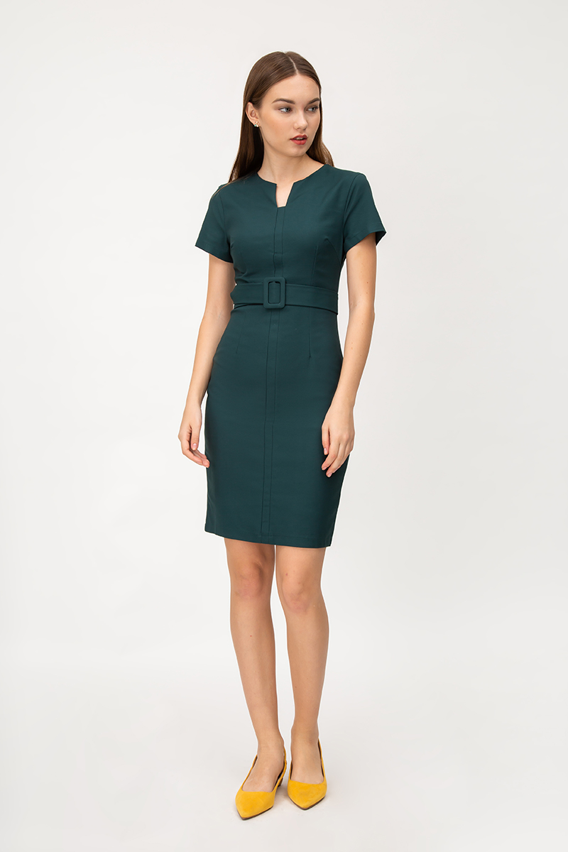 ELIZA NOTCH NECKLINE DRESS W BUCKLE