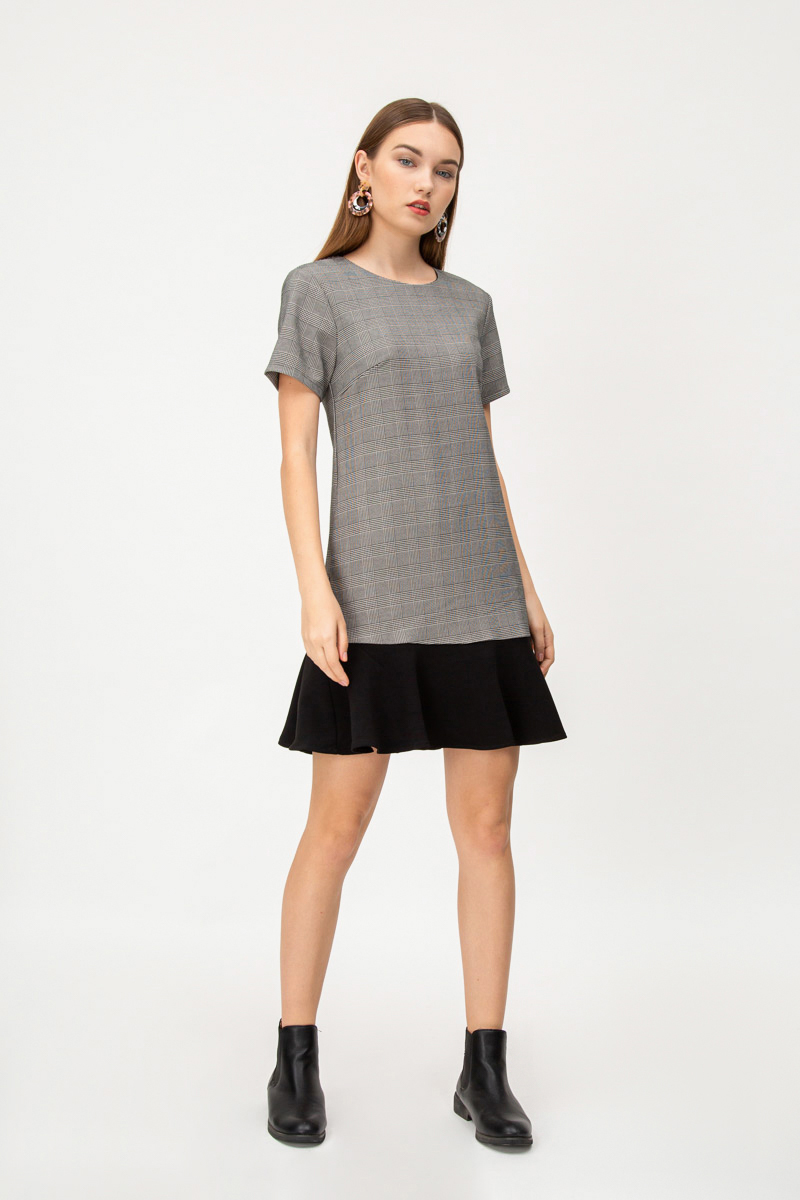 SANDRA PLAID DROPWAIST DRESS