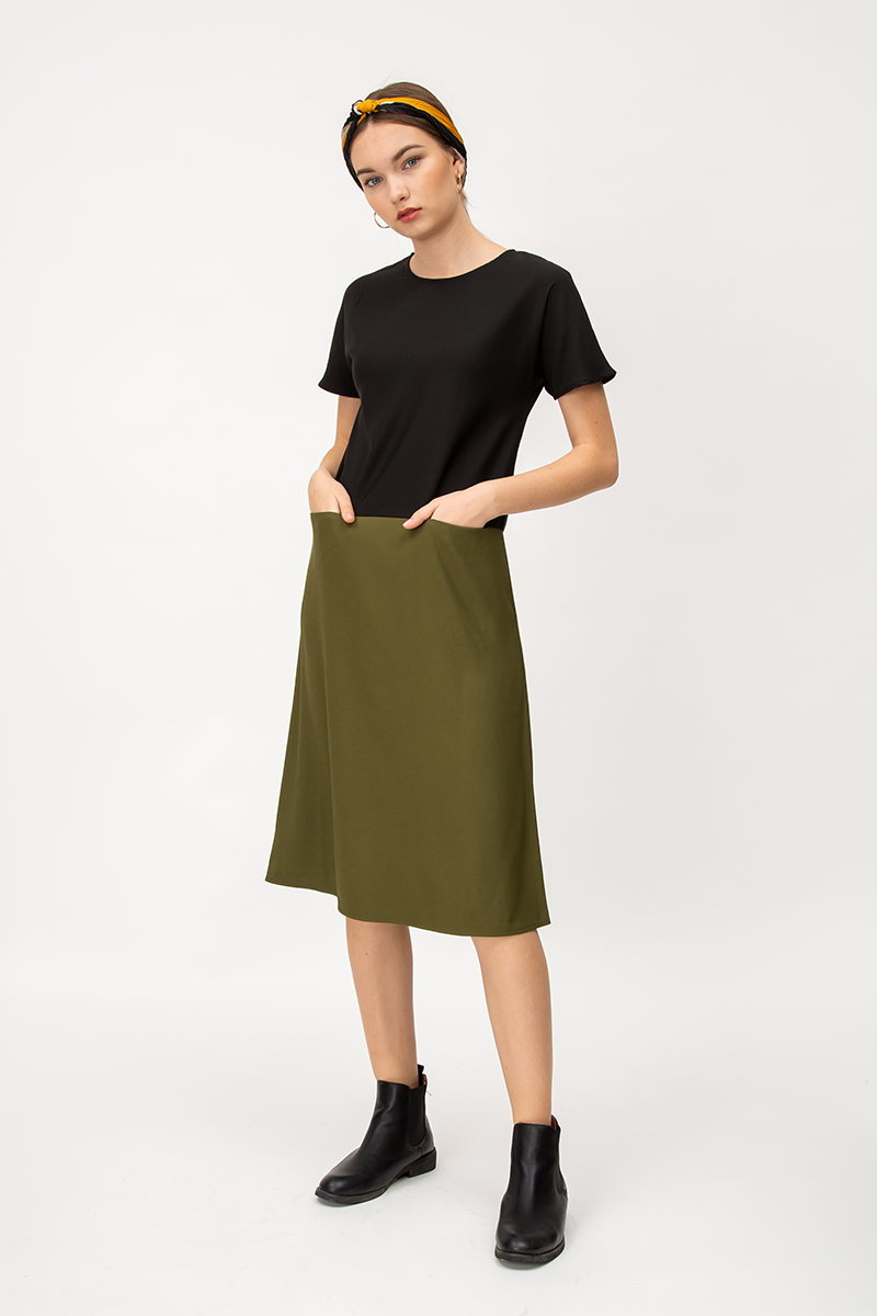 MAELIE COLOURBLOCK FRONT POCKET MIDI DRESS
