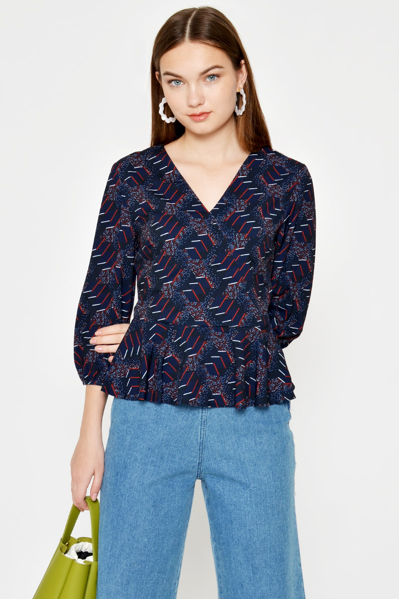 AUSTINO ABSTRACT PUFF SLEEVE PEPLUM TOP