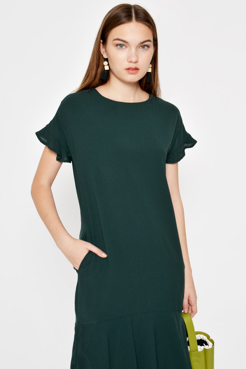 CARYNN FLOUNCE SLEEVE DROPWAIST DRESS