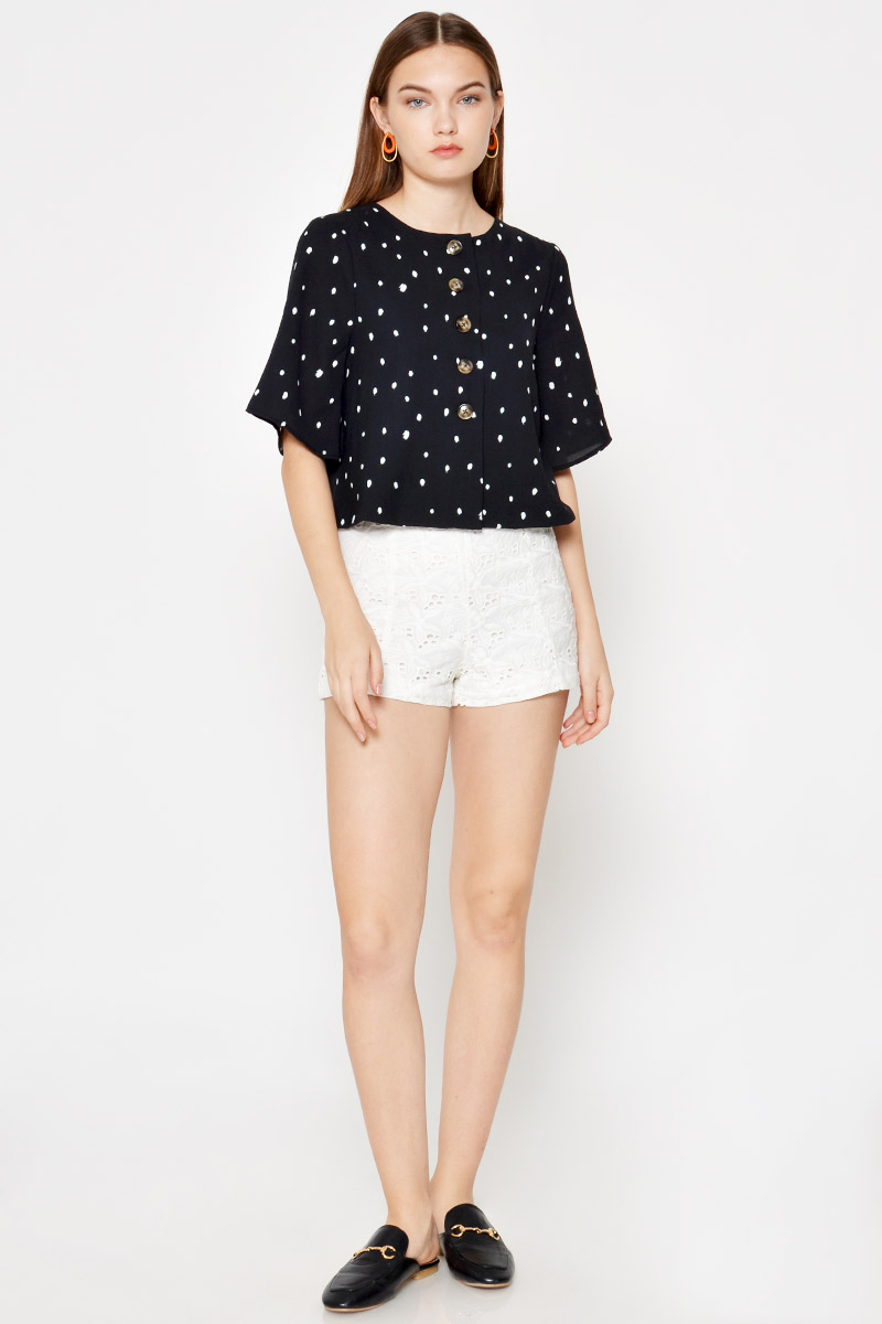 EBBIE POLKADOT REVERSIBLE TOP
