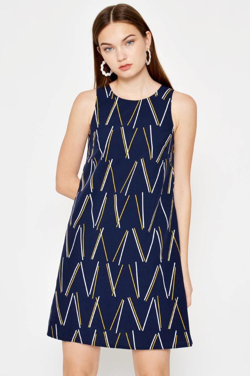 HESPER GEOMETRIC SHIFT DRESS