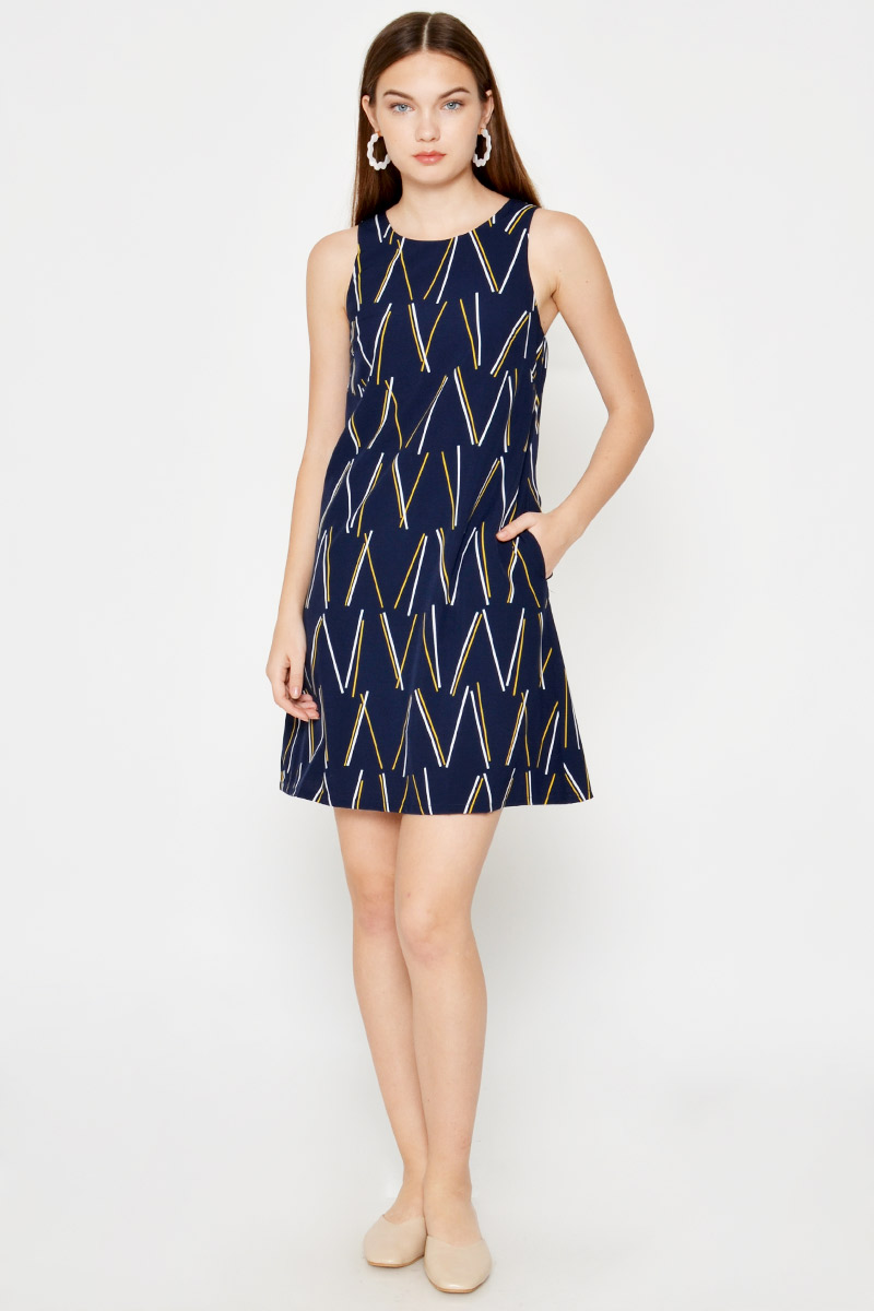 HESPER GEOMETRIC SHIFT DRESS