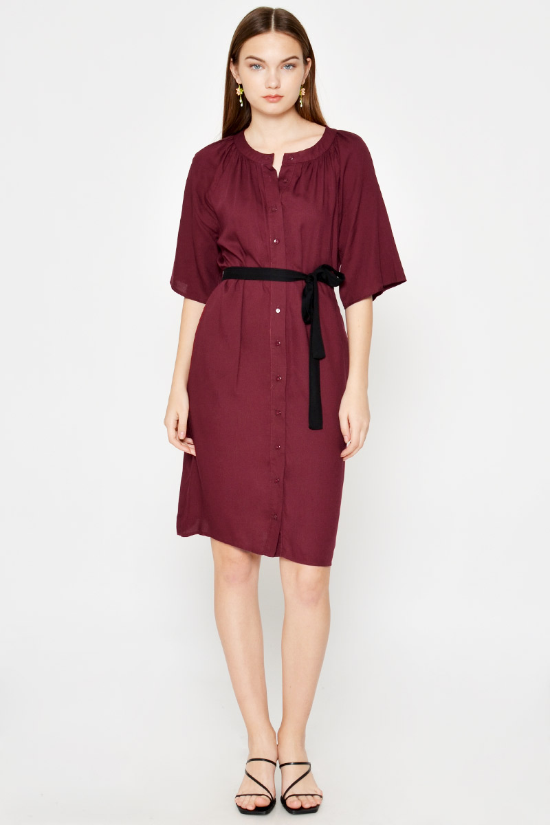 KEREN BUTTONDOWN DRESS W CONTRAST SASH