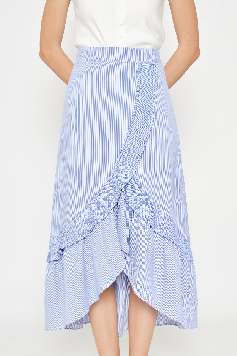 LUCY PLEATED RUFFLE STRIPE SKIRT