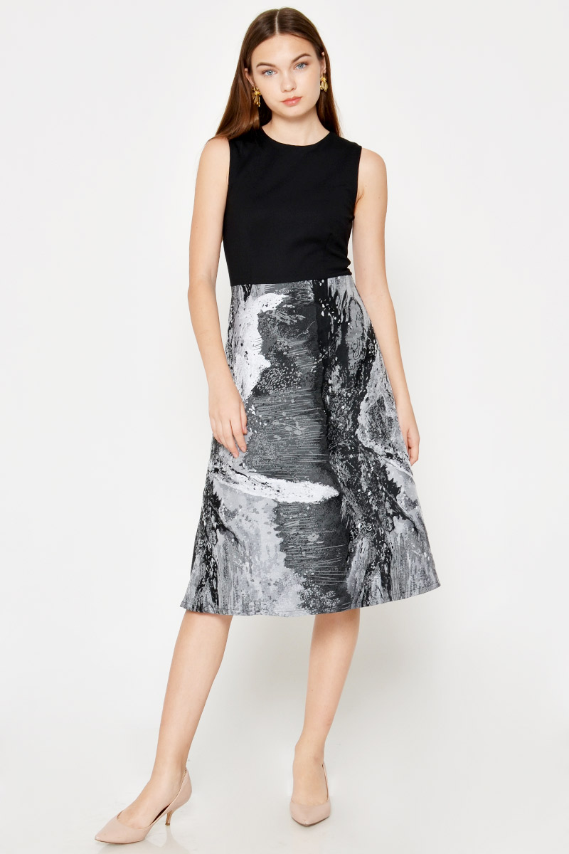 NOLAN ABSTRACT JACQUARD MIDI DRESS
