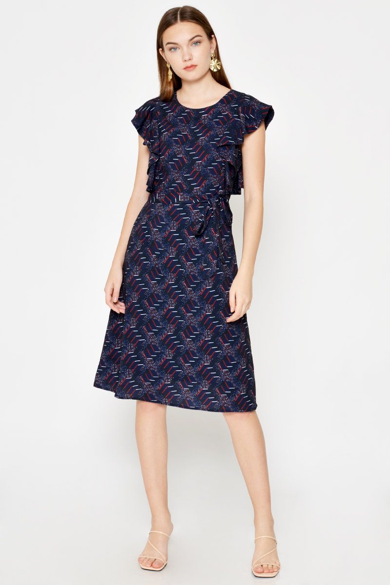 RACHELLE ABSTRACT RUFFLE DRESS W SASH