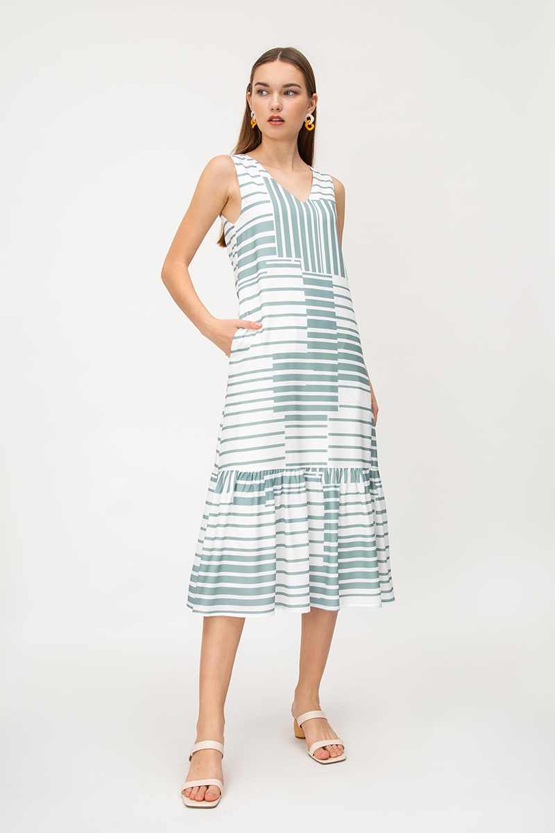 GEORGIE GEOMETRIC PRINT DROPWAIST DRESS