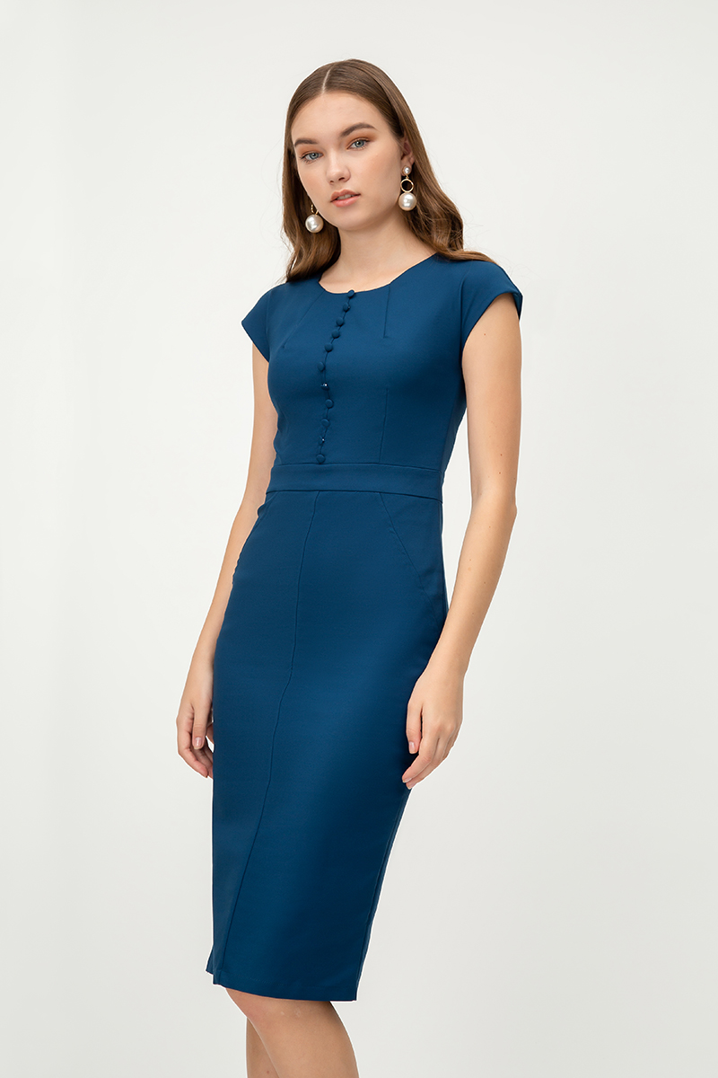 ODYNE BUTTON SHEATH DRESS