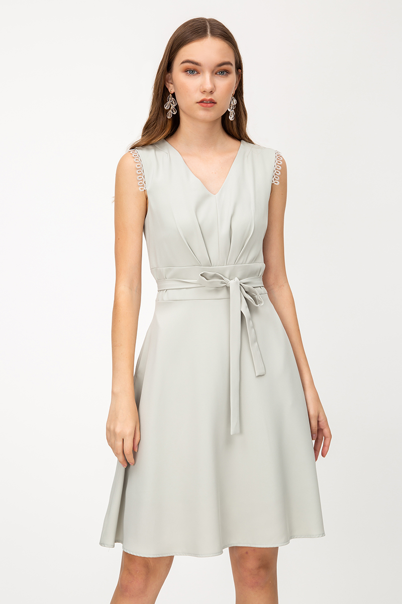 EURISA RUCHED A-LINE DRESS W SASH