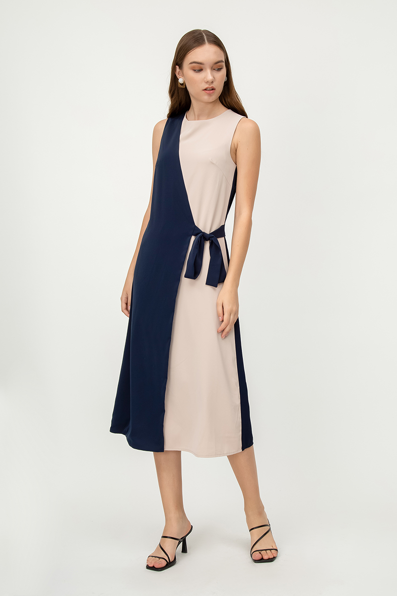 ALCIE COLOURBLOCK FOLDOVER MIDI DRESS