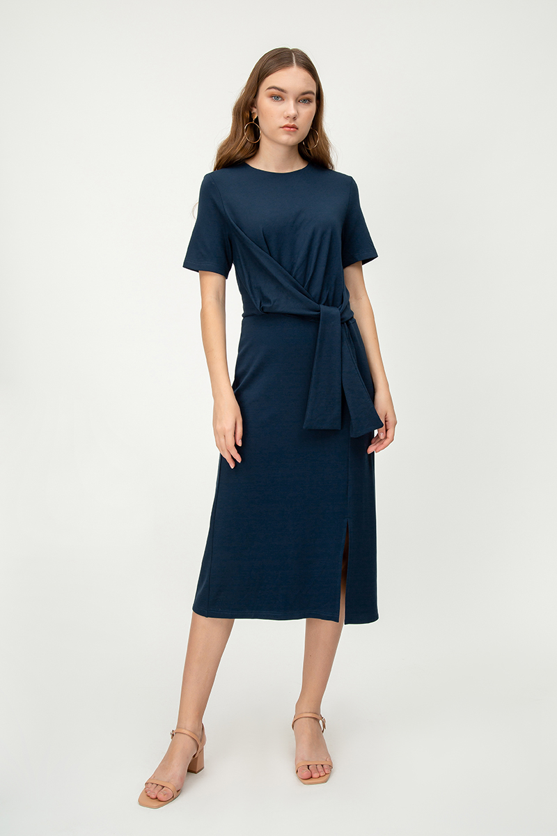 MONET TIE WAIST MIDI DRESS