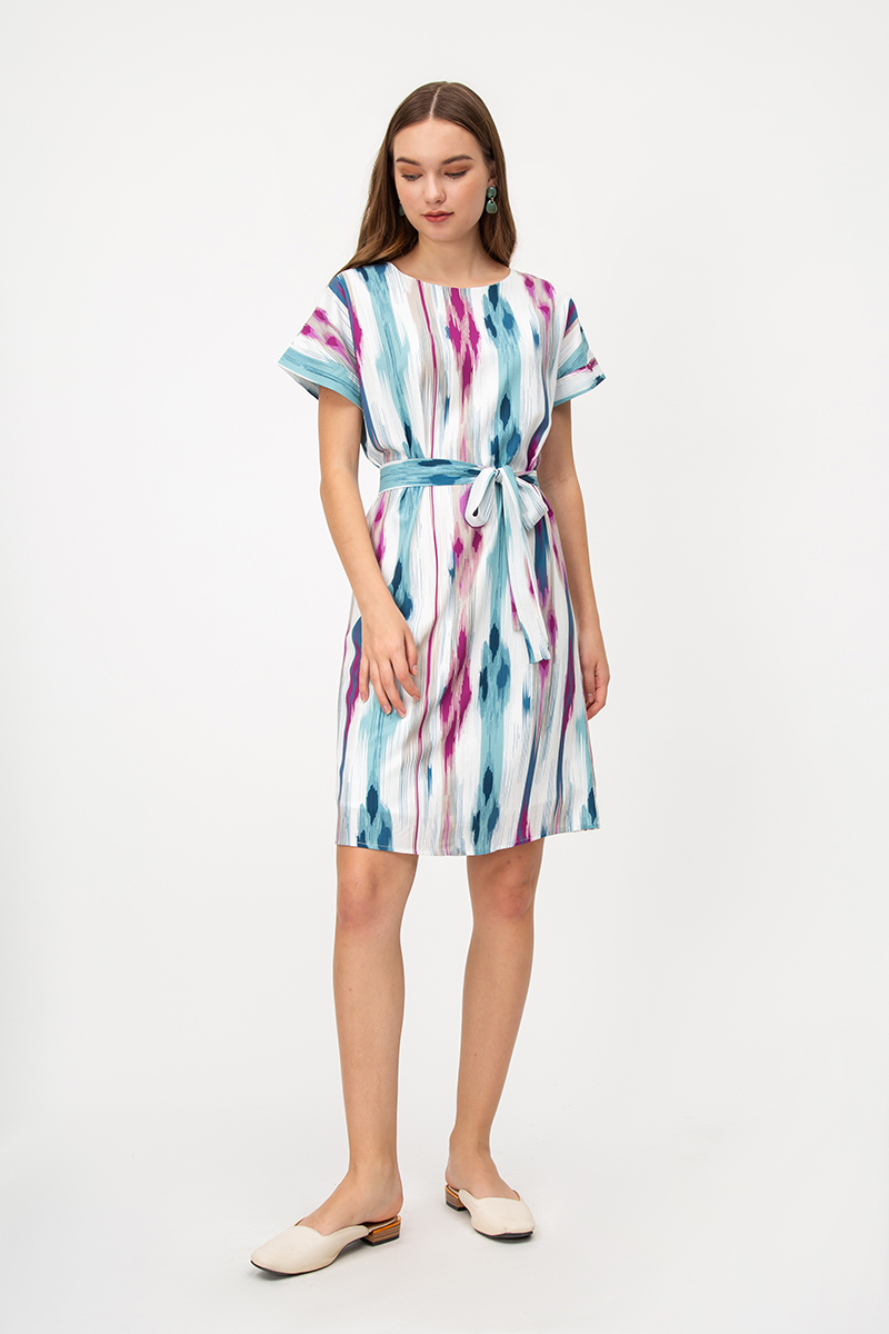 BRYSSA ABSTRACT DRESS W SASH