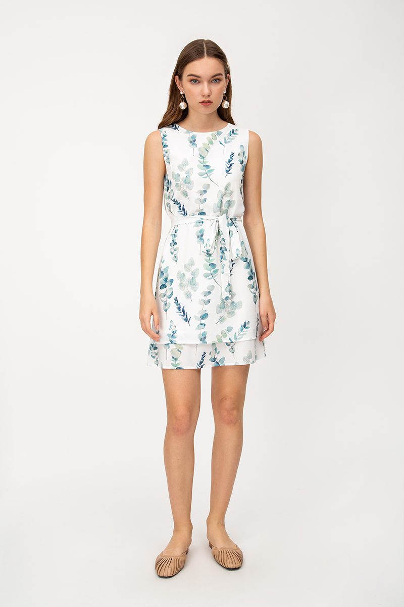 EMMY EUCALYPTUS LAYERED SHIFT DRESS