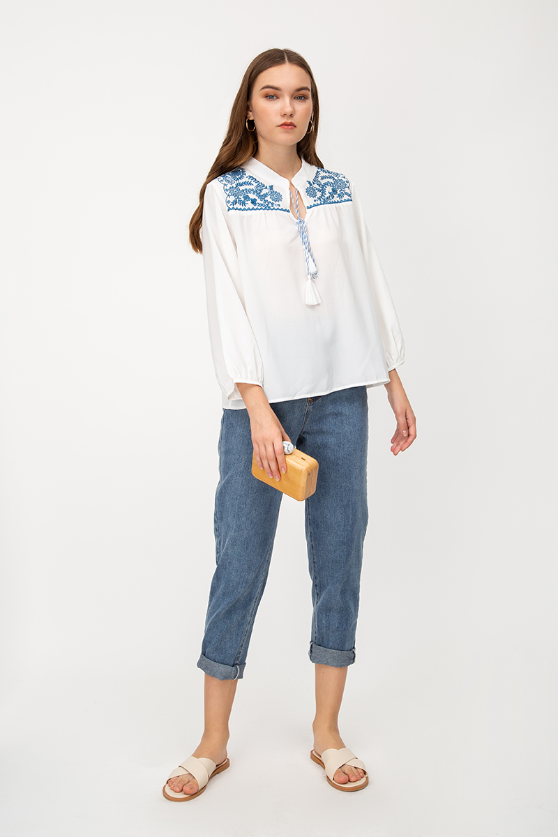CLAREY EMBROIDERY TOP