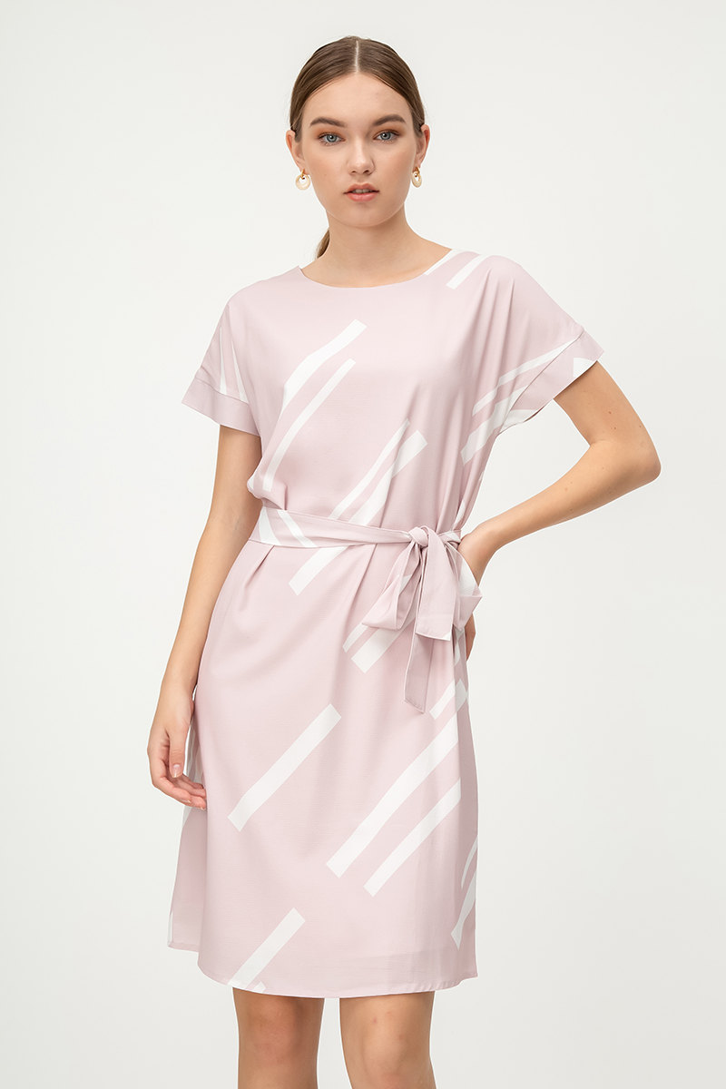 ZERA GEOMETRIC DRESS W SASH