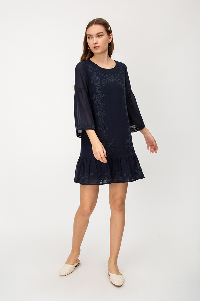 LILIANNE FLORAL EMBROIDERY DRESS