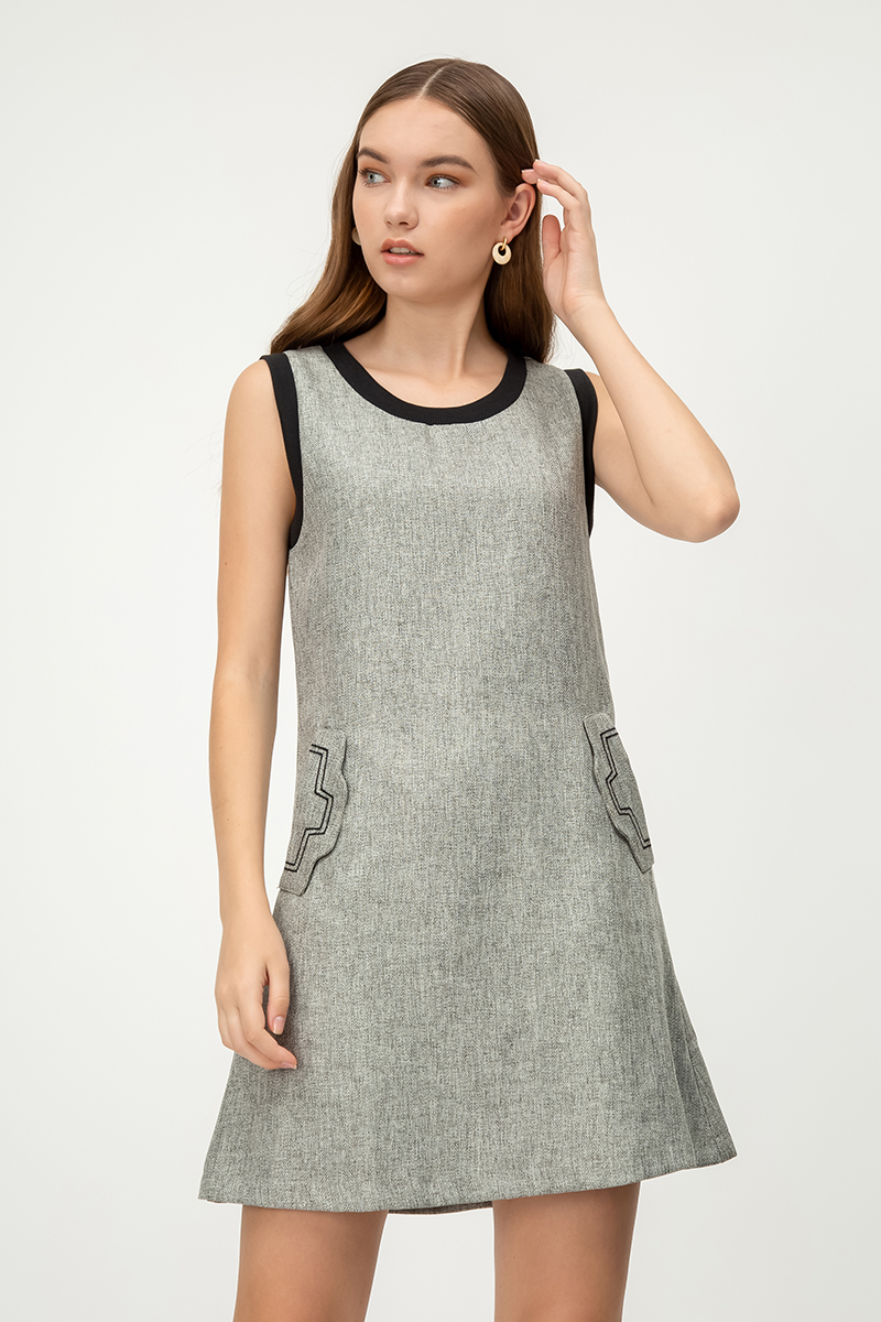 MARIUS FRONT POCKET TWEED DRESS