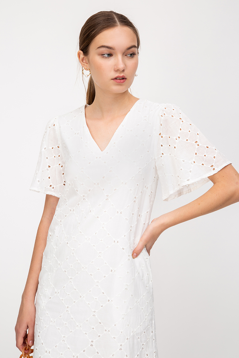 ELAINE EYELET FLARE SLEEVE DRESS