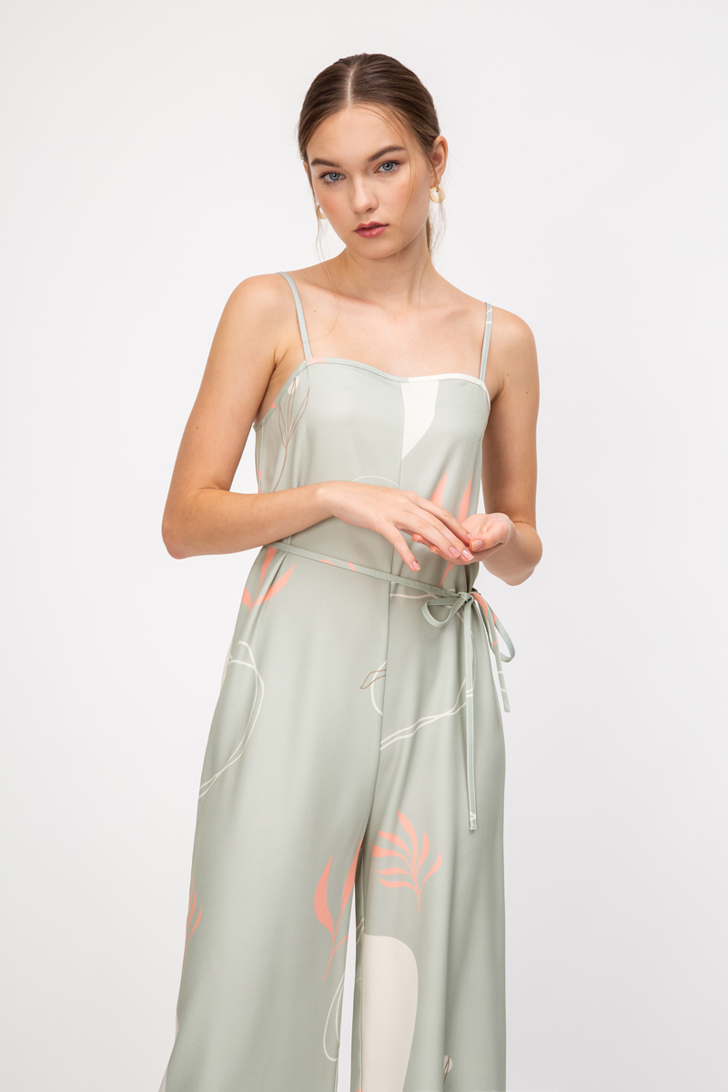 ADELIA ABSTRACT WIDE LEG JUMPSUIT W SASH