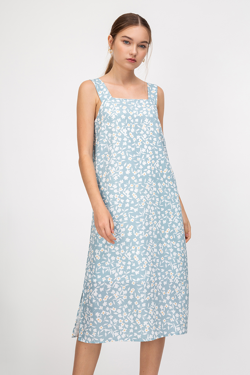 FAYTH FLORAL KNOT STRAP MIDI DRESS