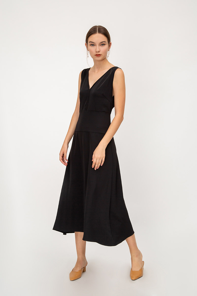 ELLSIE PIPING MIDI DRESS