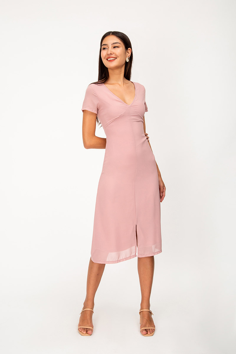 CLEORA SLIT MIDI DRESS