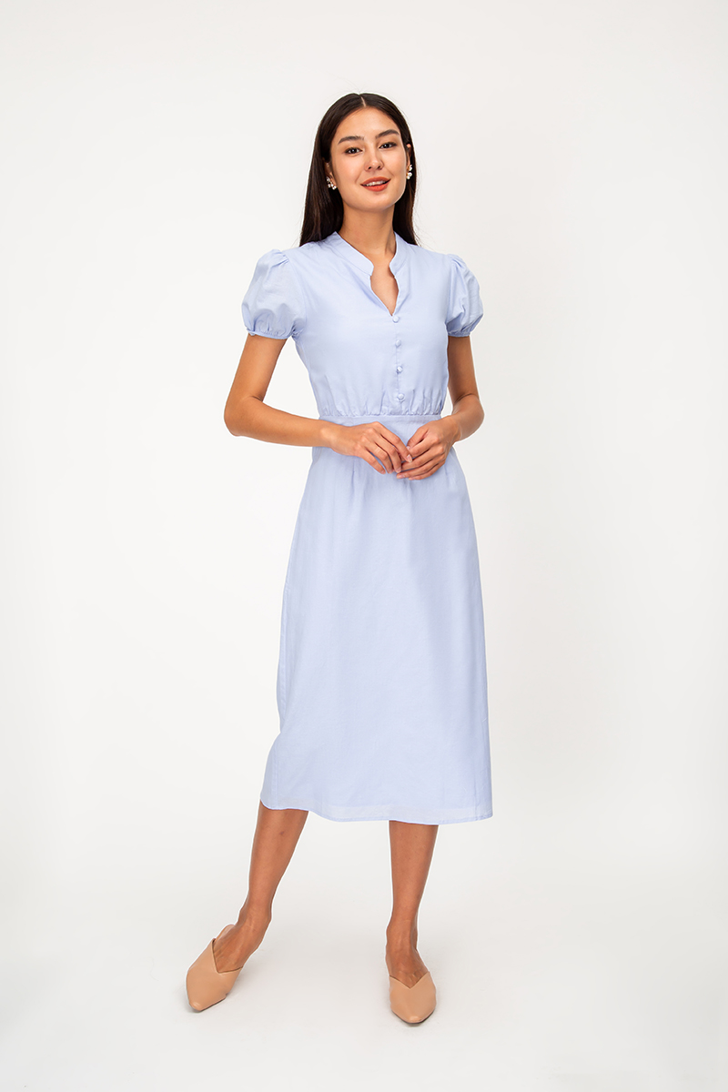 KIARA PUFF SLEEVE LINEN MIDI DRESS