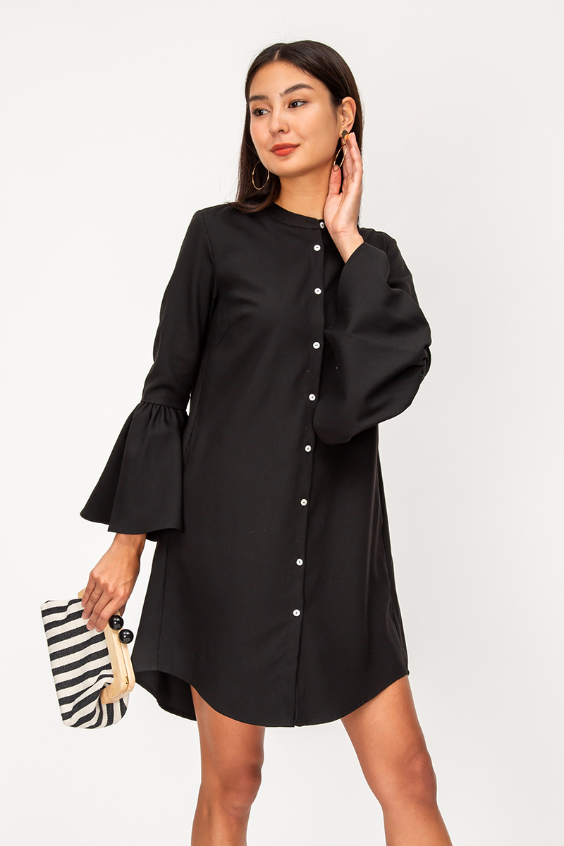 KEITH FLOUNCE SLEEVES SHIRT DRESS