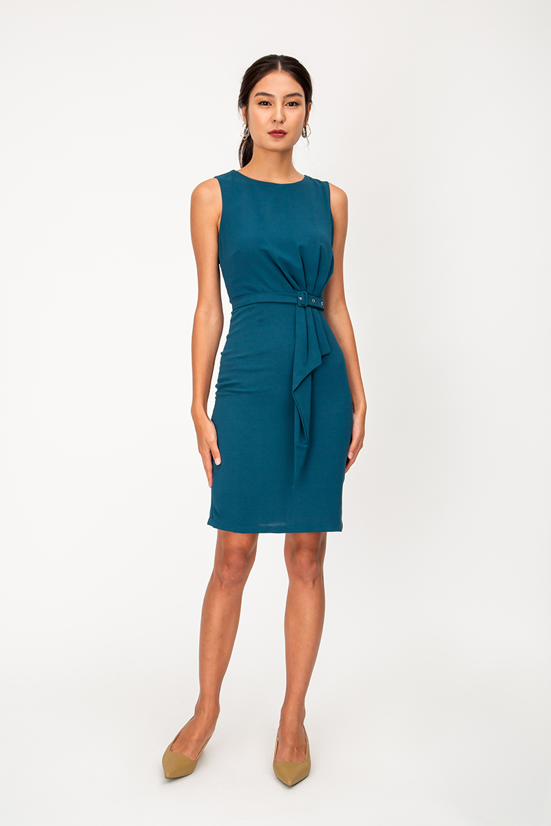 AMELIA RUCHED SHEATH DRESS W BELT
